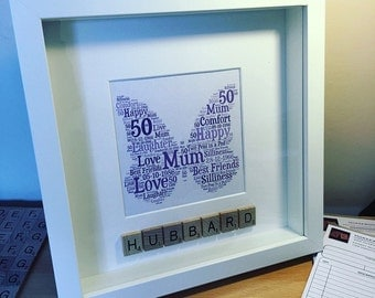 Personalised Butterfly Word Art with Scrabble Tiles