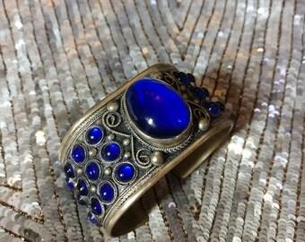 Vintage Blue Glass & Silver Bracelet / Cuff
