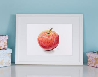 Apple Art Print, Red Apple, Royal Gala, Realistic Art, Wall Decor, Kitchen Art, Fruit Wall Art, Apple Wall Art