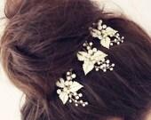 Floral Pearl Wedding Hair Pin, Bridal Hair Accessories, Bridal Pin, Crystal Floral Pin, Pearl and Floral Hair Pin, Bride, Free Shipping