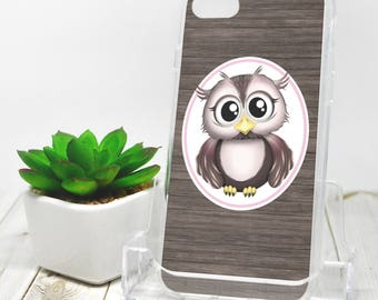 Rustic Owl iPhone 7 Case - Pink Brown - Rustic Owl iPhone 7 Plus Case - Cute Cartoon Illustration