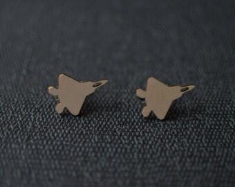 Laser Cut F-22 Raptor Plane Cufflinks