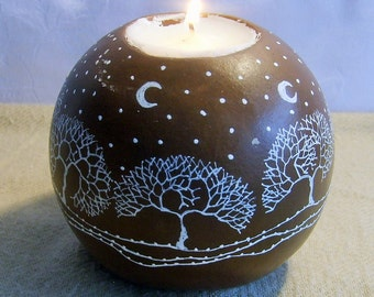 "Candlestick ""trees round"" ceramic"