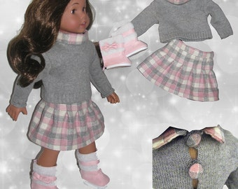 Outfit for American Girl Doll 18 '//outfits//maglia with neck, skirt and boots//Italian fabrics//pink and grey//ag dolls//(3 pieces)