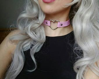 Pink Faux Leather Heart O-Ring (Pastel Goth, Punk Choker Collar, DDLG, Kitten Collar)