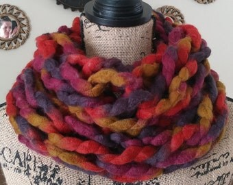 Chunky Valentine Cowl/Fall Scarf/Cowl/Infinity Scarf/Arm Knit Cowl