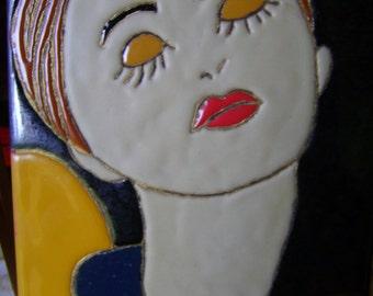 "Table partitioned enamels ""Portrait of women"" Dounia"