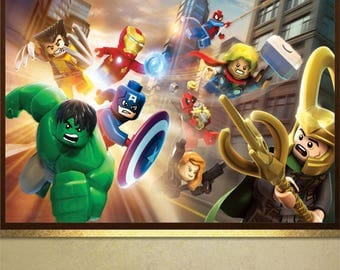 Lego Superheroes poster print Wall Art in 4 sizes