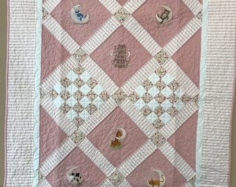 Love You To the Moon Baby Quilt - Girl