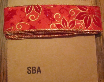 SALE, LAST MARKDOWN 3 Yards of Ribbon (Poinsettia)