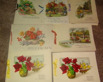 SALE Lot of 7 Vintage Birthday Cards (UN-USED)