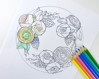 Ranunculus Flower Cake Coloring Page for Adults Hand Drawn Line Art by Olga Zaytseva,  Instant Download