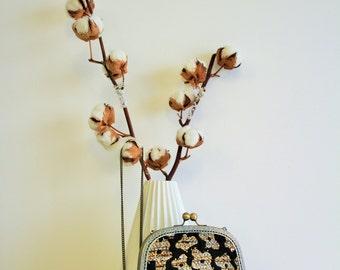 Zita clutch clasp purse brass antique floral pattern