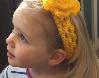 Girls Flower Headband, Crochet Flower Headband, Baby Headband, Knitted Stretchy, Child's Headband