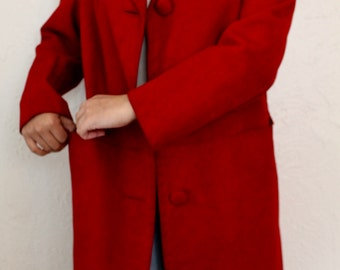 Suede Jacket, Oxblood Jacket, Suede Trench, Red Jacket, M, L, Long Coat