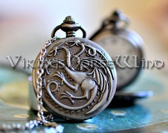Dragon Necklace Game of Thrones Pocket Watch House Targaryen Necklace GoT Pendant Khaleesi Daenerys Targaryen Game of Thrones Jewelry