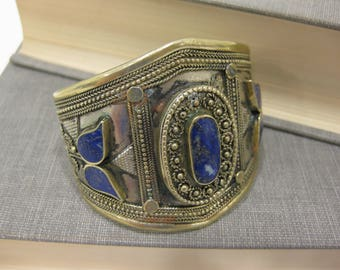 Amazing Vintage Silver-Plated Cuff Bracelet With Lapis Inlay