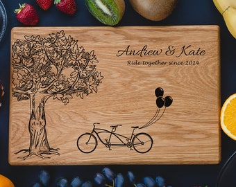 Tree Double Bicycle, Personalized Cutting Board Love Tree, Engraved cutting board, Family Sign, Custom cutting boards,Anniversary Gifts