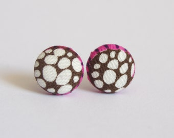 Brown, White and Pink Dot Fabric Button Earrings - 12mm