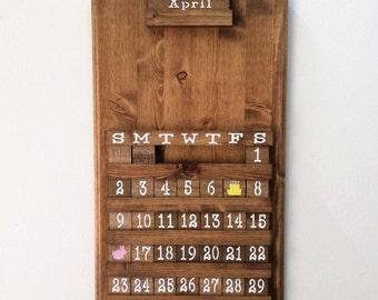 Blank Calendar, wooden perpetual calendar, wooden calendar, wall art,