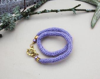 FREE SHIPPING Purple yarn bracelet Braid bracelet Violet bracelet Knitted jewelry Rope bracelet Fabric bracelet Gift for her Jewelry gift