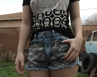 Vintage High Waisted Camo Front Shorts with Studs