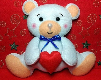Felt bear, hand embroidered nursery decor, wool felt, Christmas ornament, baby shower