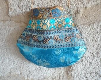 Do turquoise Tibetan Brocade bag
