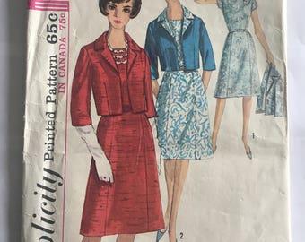 Simplicity 5792 suit coat, dress, vintage 1964 sewing pattern, size 16, bust 36