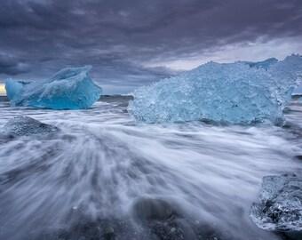 "Landscape photography, large wall art, landscape print, sea wall decor, iceland, fine art photography ""Ice & waves"""