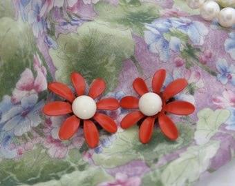 Red Daisy Clip On Earrings