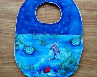 Rainbow fish Baby bib,Rainbow fish cotton fabric,Baby,Rainbow fish,gift,Baby Shower gift,Baby gift,Baby bib,boy,girl,gift,handmade baby bib,