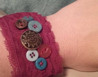 Maroon Lace Wrist Cuff Textile Bracelet Vintage Buttons Gypsy Boho Prairie Button Wrist Cuff Upcycled Repurposed