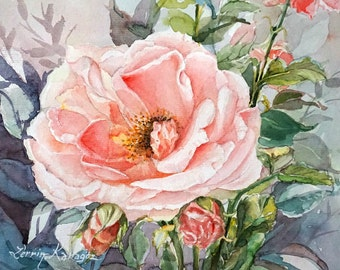 Original Watercolor Painting, Blooming Rose