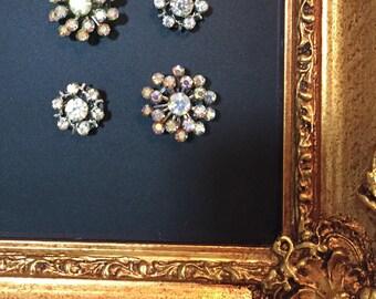 Glam Magnets..Vintage Jewelry Magnet Set of 4.. Chalkboard Magnets.. Refrigerator Magnets..Crystal magnets
