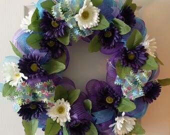 Daisies Wreath, front door, Deco Mesh, white daisies, purple daisies, Summer wreath