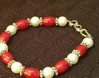 Red Bead and White Pearl Bracelet.