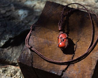 Crystal Macrame Necklace - Red Jasper