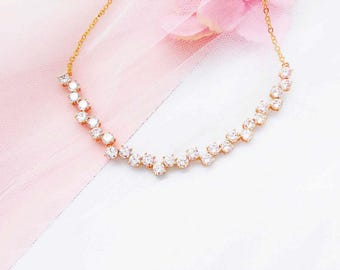 Wedding necklace, bridal jewelry, Gold crystal necklace, cubic zirconia necklace, wedding jewelry, bridesmaid necklace, crystal jewelry
