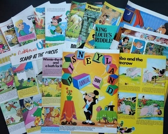 1980's Disney Characters Vintage Annual Retro Book Pages Paper Pack for Scrapbooking, Paper Crafts, Junk Journalling, Decoupage, Collage