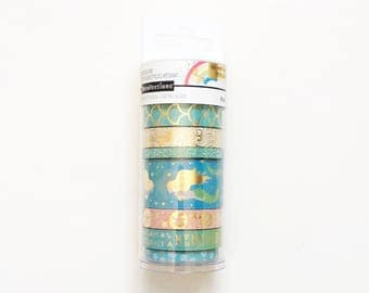 Set of 8 Washi Tapes, Recollections, Mermaid / Ocean Themed