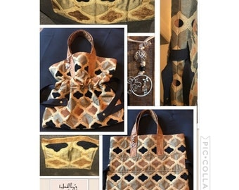 Cinch bag with faux leather straps (#14)