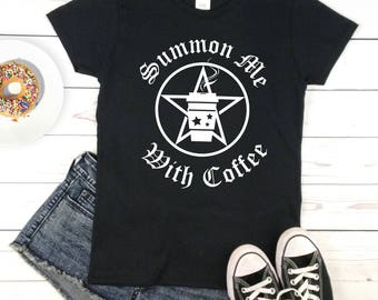 SUMMON ME - coffee t-shirt, witch shirt, black women's goth tee, magic gypsy witch