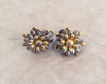 Vintage Gold and Silver Floral Screw Back Earrings