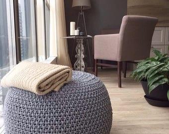 "Knitted pouf ""Grey melange"" Pearl pattern"
