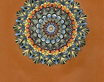Burnt Orange Mandala Print