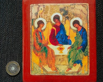 Orthodox icon of the Holy Trinity hand-mounted on reclaimed wood
