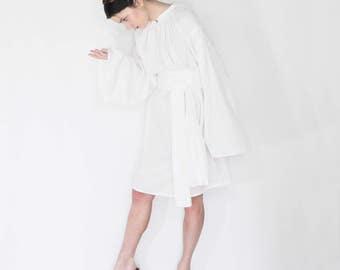 poet blouse, artist smock dress, white dresses for women, white dress sleeves, peasant dress women, summer dress,oversized dress,loose dress