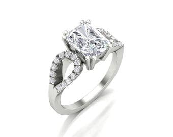 Emerald Cut Moissanite Diamond Pave Engagement Ring - Forever One Moissanite Diamond Ring - 1.75 Carat Charles & Colvard Moissanite Ring