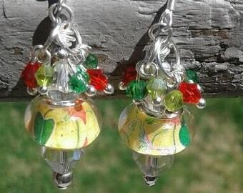 Murano Bead Fiesta Earrings with Sterling Silver Hooks